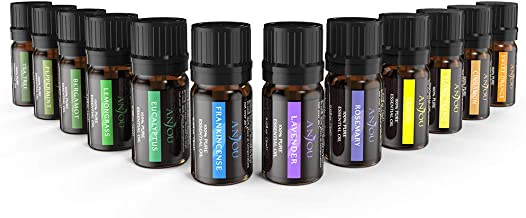 Anjou Essential Oils Set (12Pcs Oils, 100 Percent Pure Lavender, Sweet Orange, Tea Tree, Eucalyptus, Lemongrass, Peppermint, Bergamot, Frankincense, Lemon, Rosemary, Cinnamon, and Ylang-Ylang)