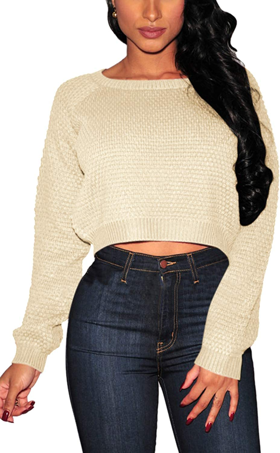 Pink Queen Women's Knit Long Sleeves Cropped Sweater Top
