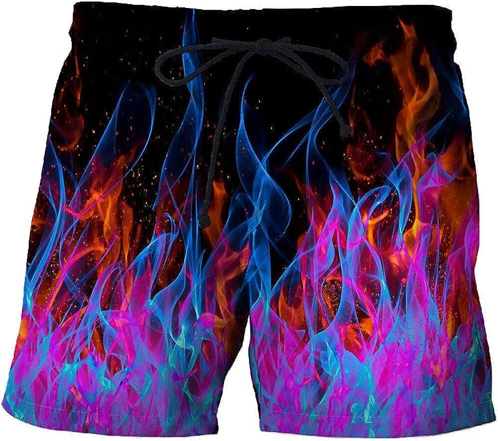 HHSW Mens Board Shorts Color Flame Print Pocket Casual Beach Shorts-Pcs-215_M.