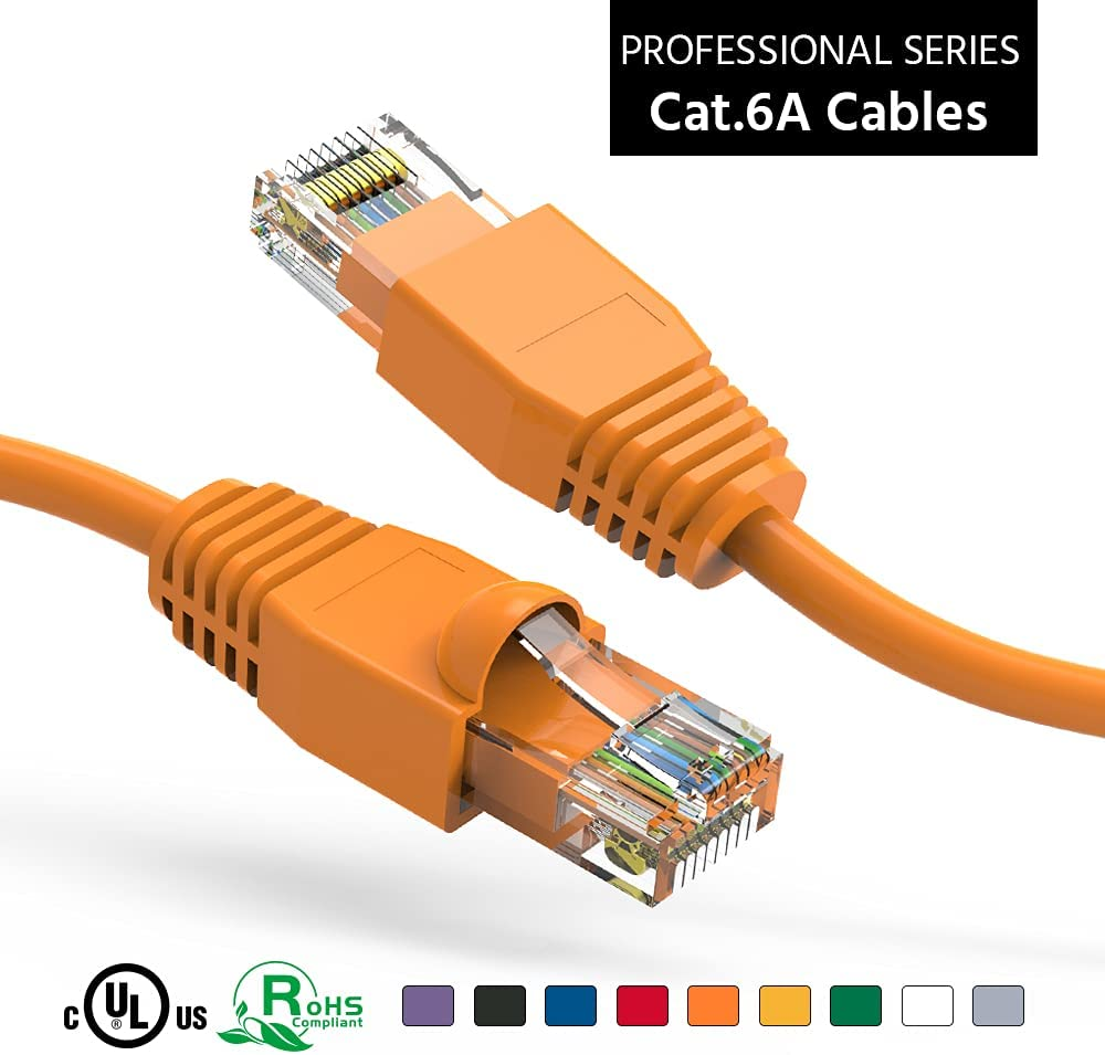 ACCL Japan's largest assortment 20Ft Cat6A UTP Ethernet Network Orange 3 New York Mall Cable Pack Booted