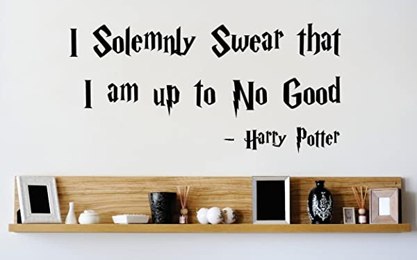 Design With Vinyl 3 Zzz 219 Decor Item I Solemnly Swear That I Am Up To No Good Harry Potter Quote Wall Decal Sticker 20 X 40 Inch Black