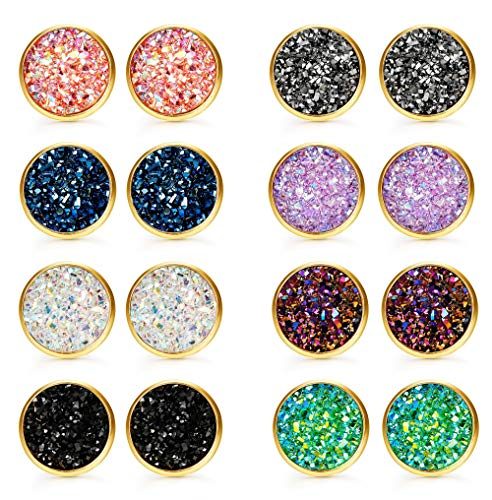 Finrezio 8Pairs Druzy Stud Earrings Set for Women Hypoallergenic Round Earrings Pierced