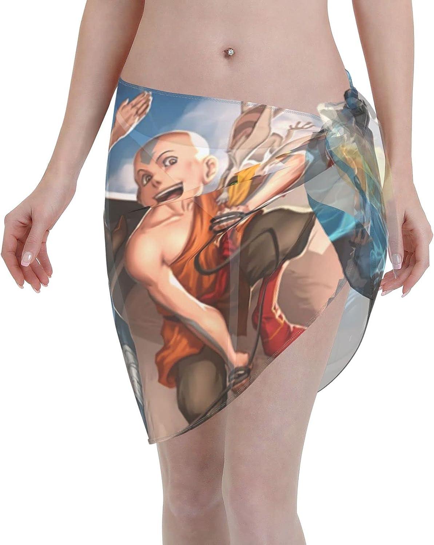 Avatar The Last Airbender Aang Appa Women Short Sarongs Beach Wrap Sheer Bikini Wraps Chiffon Cover Ups for Swimwear (5519in) Black