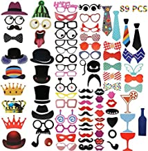 Photo Booth Prop Liushuliang Photo Booth Props - 89 pcs Photo Booth Props DIY Kit for Wedding, Birthday, Party
