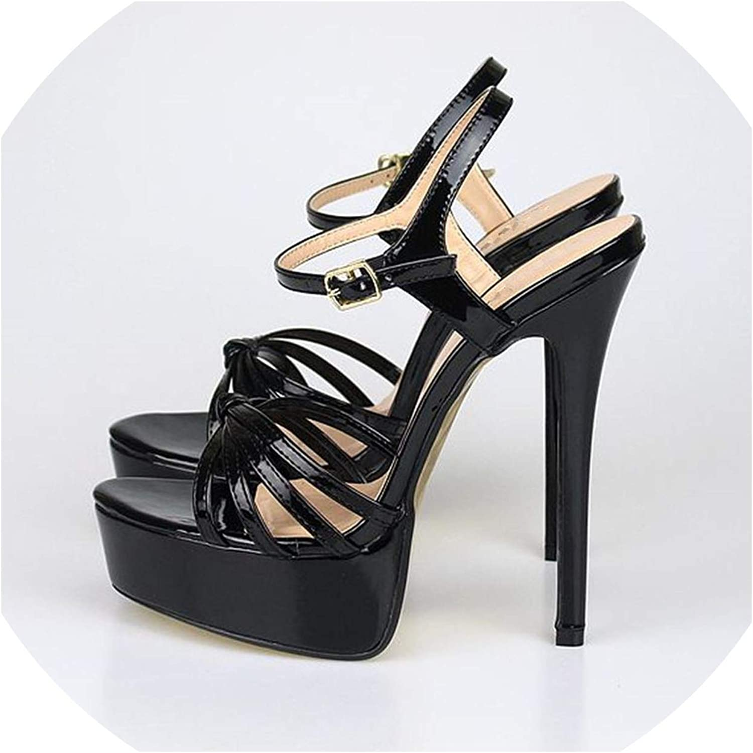 Summer Gladiator Women Sandals Sexy Extreme High Heels Sandal Platform Party Wedding shoes,Black,13.5