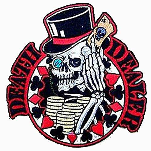 Death Dealer Skeleton Top Hat Poker Cards Novelty Embroidered Biker Jacket Patch - Iron on Backing