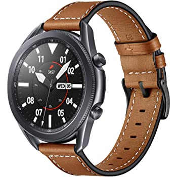 Aimtel Band Compatible with Samsung Galaxy Watch 3 45mm Bands, 22mm Genuine Leather Replacement Strap for Galaxy Watch3 45mm/Galaxy Watch 46mm (Brown)