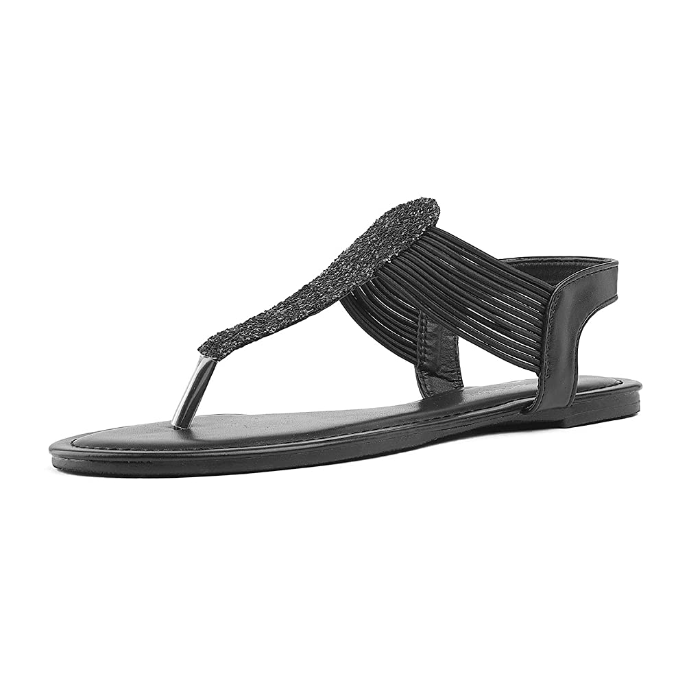 DREAM PAIRS SPPARKLY Women's Elastic Strappy String Thong Ankle Strap Summer Gladiator Sandals