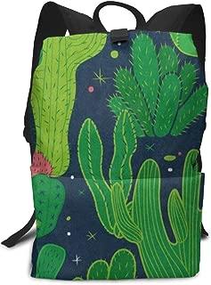 Backpack Green Plant Cactus Zipper Bookbag Daypack Hiking Rucksack Gym Bags For Man Women