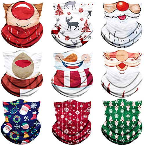 Seamless Face Scarf Head Wraps headwear Bandana Headband Balaclava Neck Gaiter Multifunction,Christmas deco pattern