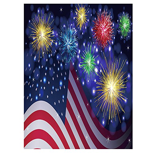 ALAZA American USA Flag Independence Day Polyester House Flag Banner 28 x 40, Colorful Firework Happy Memorial Day July of 4th Double Sided Garden Flags for Anniversary Yard Outdoor Decoration