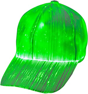 39ec92d5f51f2 1clienic Luminous LED Baseball Cap 7 Colors Glow Hat Unisex DJ Light Up  Rave Fiber Optic