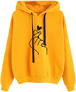 Long Sleeve Hooded Sweater Loose Hoodies (Color : Yellow, Size : 5XL)