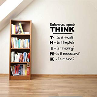 Guduis Wall Sticker Removable Vinyl Mural Decal Quotes Art Think Before You Speak. Motivational Quotes Inspirational Saying Wall Sticker Classroom Study Room Decor