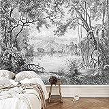 Foto personalizada Papel tapiz Mural de bosque blanco y negro Retro europeo Línea pintada a mano Selva tropical Pintura de la selva Fondo Decoración de la pared Mural 200x140cm