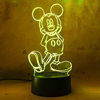 Amroe Cute Cartoon Mickey Mouse 3D Night Light LED 7 Color Illusion Table Lamp Birthday Child Kid