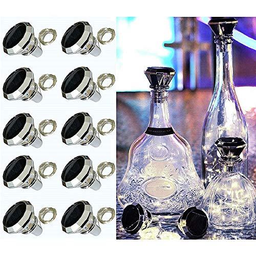 ADLOASHLOU 10 Stück Solar Flaschen Licht 20 LEDs 2M Solar Lichterkette für Flasche LED Diamant Lichterketten Stimmungslichter Solar Weinflasche Kupferdraht für Flasche DIY, Dekor cool