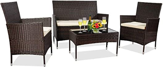 MIERES Patio Furniture Sets 4 Pieces-Sturdy Wicker Outdoor Indoor Conversation Bistro |304 Metal Feet | Bench Seat Two Rat...