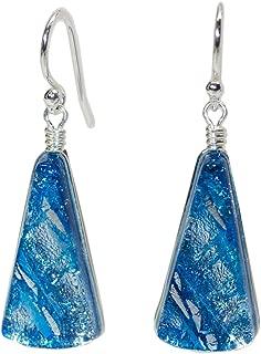 Window Waterfalls Earrings - Nickel Smart - Sea Blue Dichroic Glass Nickel Free Dangle Earrings
