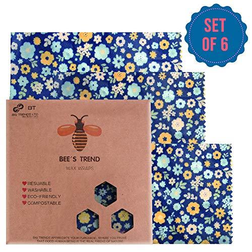 Lot de 6 Emballages alimentaires en cire d'abeille
