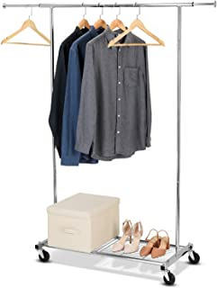Bextsware Clothes Garment Rack On Wheels, Expandable Single Rail Heavy Duty Commercial Grade Hanging Closet Organizer Stand Clothing Rack with Mesh Bottom Shelves for Boxes Shoes Storage, Chrome