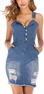 IyMoo Women's Casual Spaghetti Strap Denim Jean Sexy Mini Overall Dress