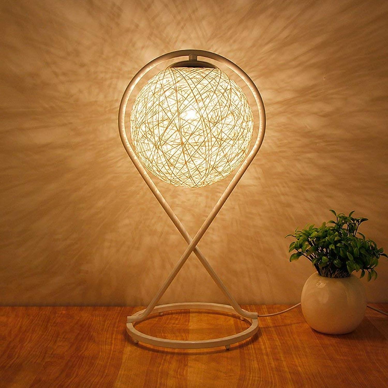 Tischlampe Kreative Pastoral Schlafzimmer Nachttisch Kreuz-Leinen Geflochtene Tabelle, Three-Farbe dimmbar E27