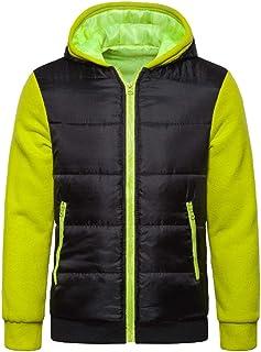 Men's Jacket Winter Warm Fleece-Lined Zipper Slim Thick Bubble Coat Casual Jacket Outerwear Men Patchwork Hooded Teenagers...