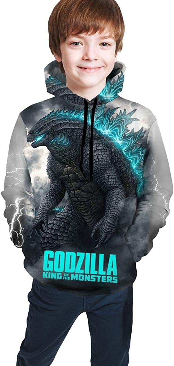 Boys&Girl Hoodie Sweatshirt Fashion 3D Print Sweatshirts Godzilla 2 King of Monsters for Boys Girls 7-20 Years