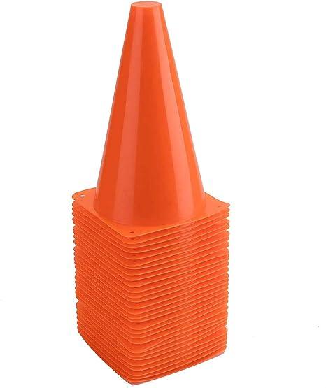 Bekith 30 Pack 9 inch Plastic Traffic Cones, Orange Soccer Traning Cones Plastic Agility Sports Cones, Indoor/Outdoor Use