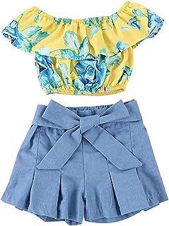 Kids Baby Girls Outfits Floral Ruffle Off Shoulder Crop Tops + Bowknot Denim Shorts Skirt Set Toddler Summer Clothes
