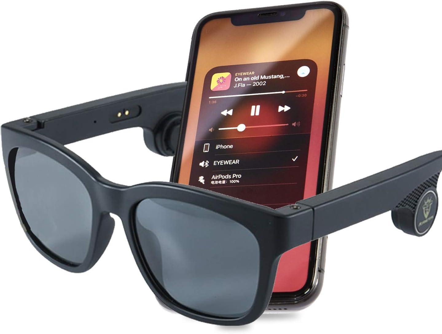 Cacoffay Smart Bluetooth Glasses, Lightweight Anti Eyestrain Blue Light Filter Eye Glasses, Mens Polarised Sunglasses 100% UV Protection Mens Sunglasses for Driving & Fishing & Sports,A