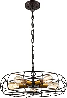 Industrial Hanging Chain Pendant Chandelier 5 Light Fan Style Rustic with Brass Socket