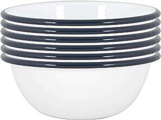 Argon Tableware Blanc Bols émail - Acier Camping en Plein air Arts de la Table - Vaisselle 16cm - Marine - Lot de 6