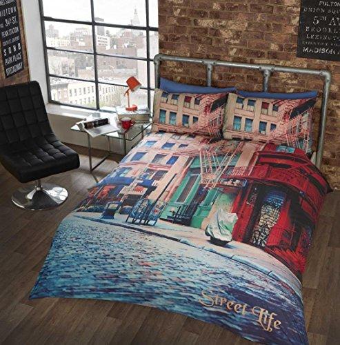 Photo Simple Housse de Couette et taie d'oreiller Urban City Street avec Housse de Couette Parure de lit en Lin.