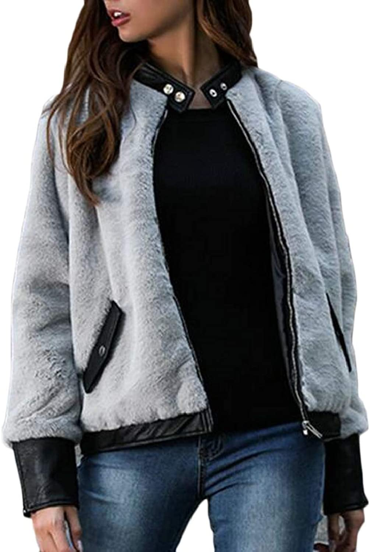 EtecredpowCA Women Faux Leather Comfortably Buttons Pocket Zipper Patchwork Pea Coat Jacket