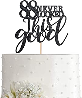 88 Black Glitter Happy 88th Birthday Cake Topper, Cheers to 88 Years Party Cake Topper Decorations, Supplies