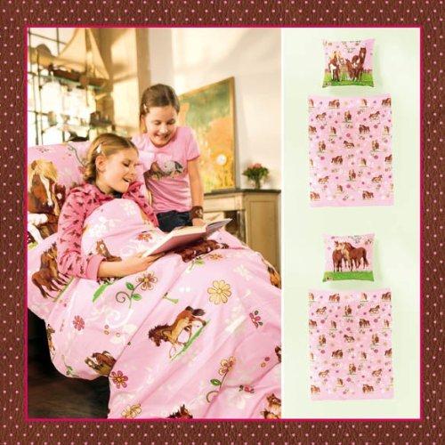 Bierbaum 2217 Bettwäsche Pferdefreunde, 135 x 200 cm, rosa 01, Renforcé