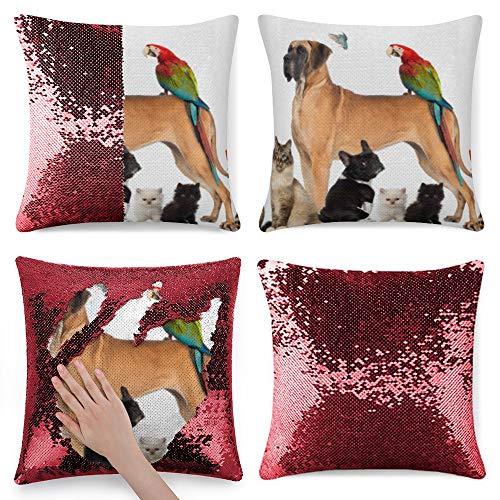 Tamengi Sequin Pillow Cover, Group of Pets Dog Cat Bird Reptile Rabbit, Zipper Pillowslip Pillowcase, Decorations for Sofas, Armchairs, Beds, Floors, Cars