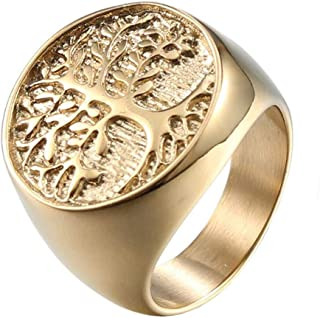 Men's Stainless Steel Vintage Gold Plated Tree of Life Ring Signet Biker Band Round Top