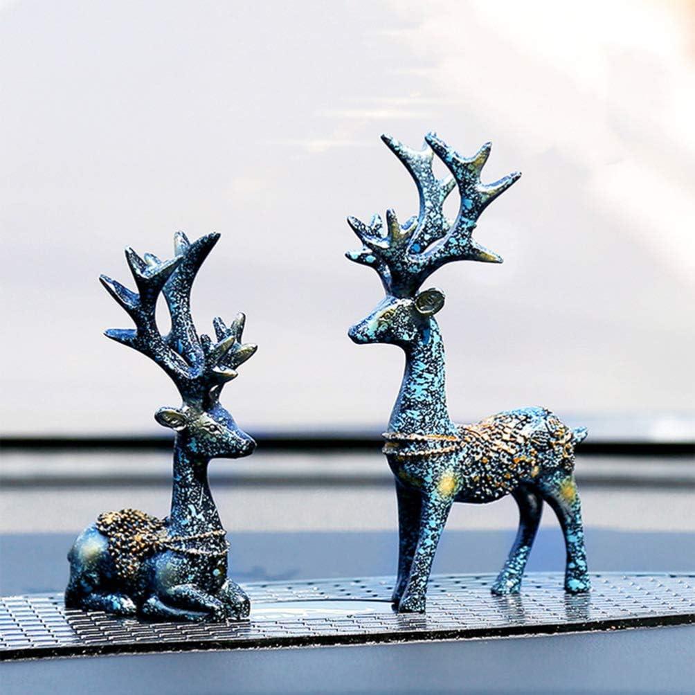 Amosfun 1 Paar Weihnachts-Rentier Harz-Skulptur Hirsch Figur Statue Home Office Decor Statuen Familie Handwerk Ornament Marineblau