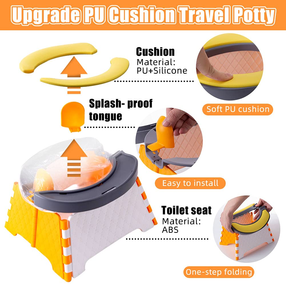 Upgrade Portable Potty Training Seat for Toddler - Kids Travel Potty - Foldable Toilet Seat - Baby Potty Seat for Car Outdoor - PU Cushion Splash Guard Storage Backpack