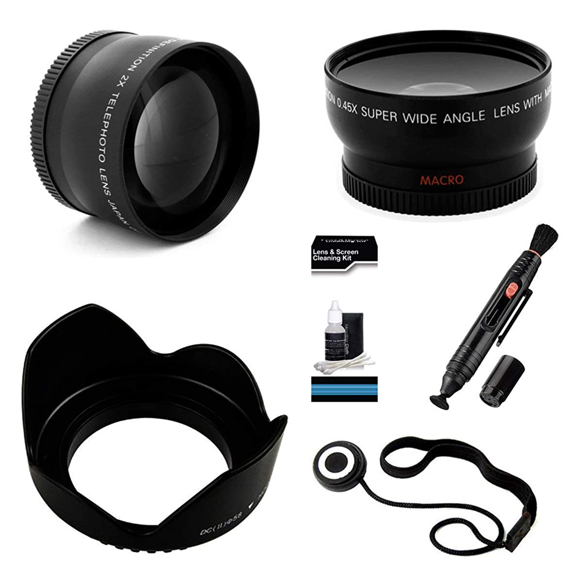 37mm Essential Lens Kit for Select JVC Everio Camcorders. Bundle Includes 2x Telephoto Lens, 0.45x HD Wide Angle Lens w/Macro, Flower Tulip Lens Hood & UltraPro Accessory Set