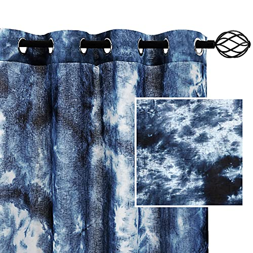 """Manual Tie Dye Curtains for Bedroom Rich Natural Linen Semi-Sheers Curtains Hand Craftsmanship Home Decorative Grommet Window Treatments Panels for Living Room 2 Panels, 52"""" by 84"""" Inch, Navy"""