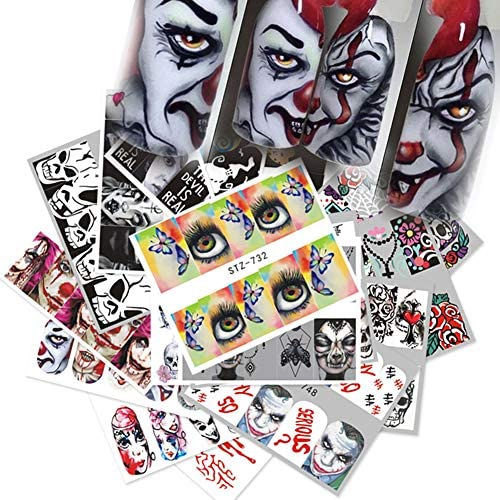 25 Sheets Halloween Nail Art Stickers Cute Nail Decals Water Transfer Stickers 3D Water Slide product image