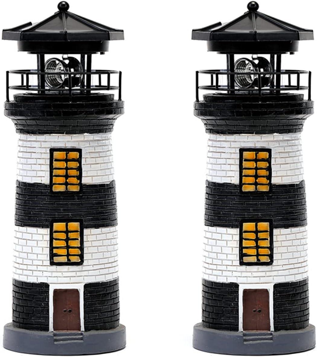 ZLFS 2 Pcs LED Las Vegas Mall Solar Lighthouse Resin Statue Crafts OFFer