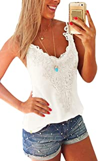 Sexy Lace Tank Tops for Women Summer Basic Low Cut Cami Vest Shirt