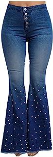AOGOTO Jeans a vita alta da donna con 5 tasche in denim, pantaloni svasati a campana