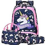 Sac Licorne Enfant Fille Cartable Primaire Sac pour l'école Loisir Voyage 3 en 1 Sac à Dos Scolaire + Sac à Lunch + Sac à Crayons
