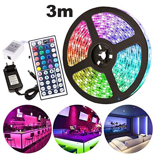 VINGO LED Strip 3M LED Streifen RGB LEDs Band mit 44 Tasten Fernbedienung IP65 Wasserdicht 12V LED Klebestreifen 90 LEDs